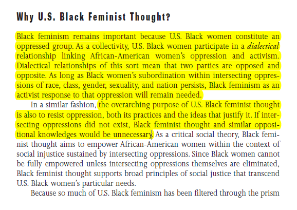 black feminist thought collins summary