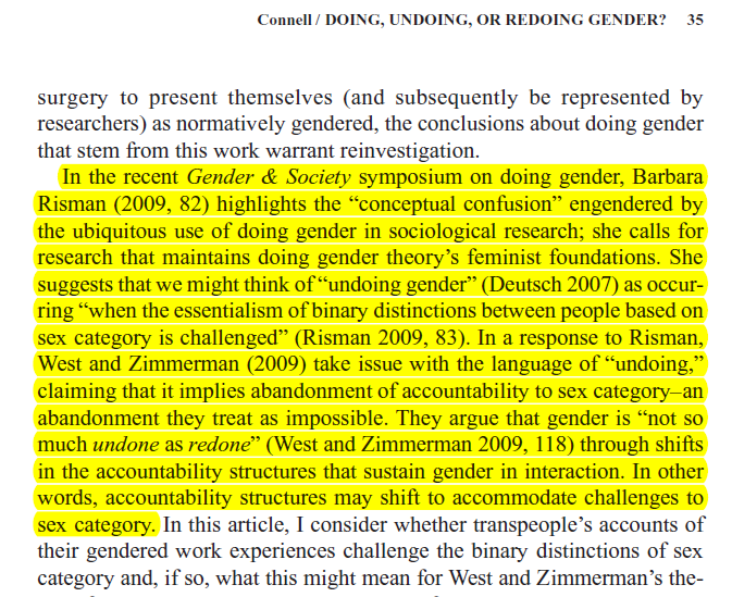 Connell - Doing, Undoing, or Redoing Gender Excerpt