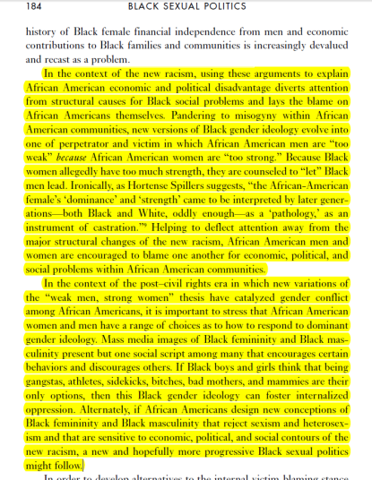 Excerpt from Hill-Collins Black Sexual Politics, p184